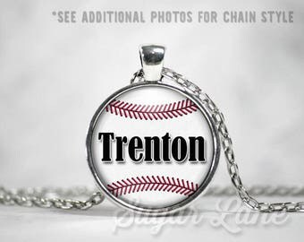 Personalized Baseball Necklace - Glass Dome Necklace - Custom Baseball Pendant - Sports Necklace