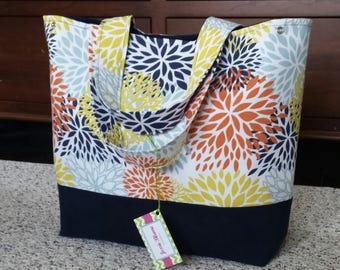 flower diaper bag, shoulder bag, Large diaper bag, waxed canvas tote bag, baby shower gift, overnight  Bag, festival bag