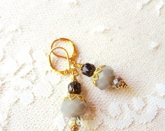 40% OFF CHRISTMAS SALE Dark and smokey grey, black, and gold layered bead earrings, Til The Smoke Clears