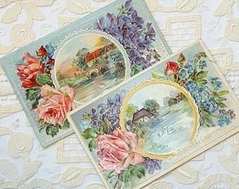 Antique Floral Landscape Scene, Birthday Greeting, Embossed Vintage German Ephemera, Set of 2 Postcards