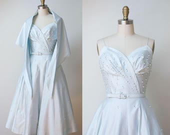 1950s Sundress dress / 50s Pale Blue Rhinestone Studded Dress & Shawl