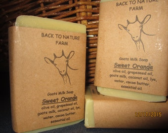 Handmade Sweet Orange Goats Milk Soap