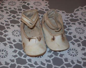 Antique Baby Shoes White Leather