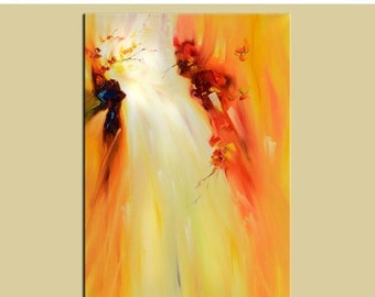 70%Off & Free Shipping Original Oil Painting sunny waterfall painting canvas painting modern painting Yellow Orange  landscape painting  by