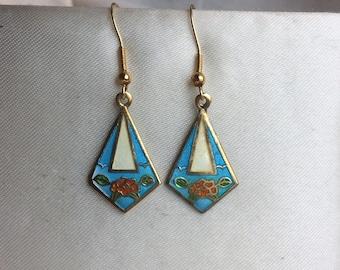 Vintage Turquoise Blue Enamel Rose Drop Earrings