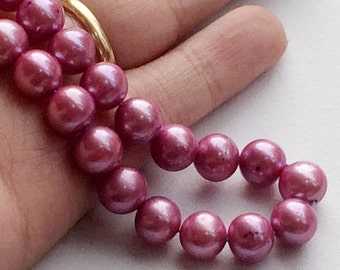 60% HOLIDAY SALE Pearls - Natural Pearls, Natural Fresh Water Round Pearls, Pink Color Pearls, 8mm Each, 8 Inch Strand, 25 Pieces