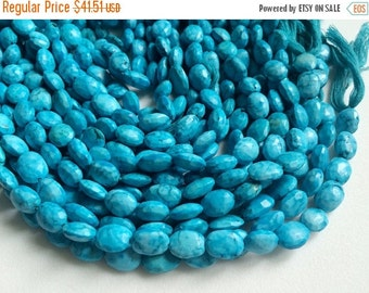 55% ON SALE Turquoise Faceted Oval Beads, Chinese Turquoise Straight Drill Beads, Turquoise Necklace 9-10mm, 8 Inch, 20 Pcs - AGA75