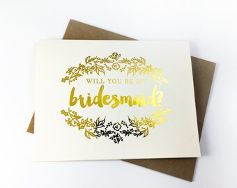 Will You Be My Bridesmaid Card, Gold Foil Bridesmaid Card, maid of honor card, gold bridesmaid card, foil bridesmaid card - GBM 09