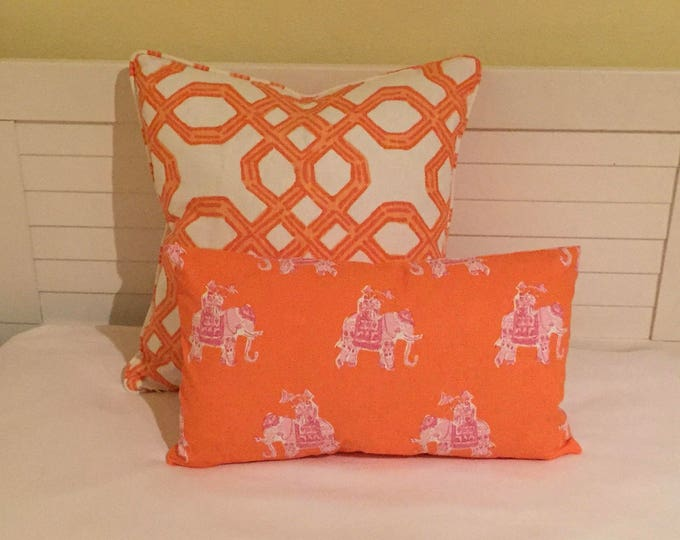 SALE, FREE Shipping, Lilly Pulitzer Bazaar in Clementine Elephants Designer Lumbar Pillow Cover, 12x20