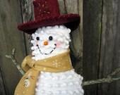 Happy Snowman Ornament, Tuck, Prim Cute Smiling Snowman Decor, Vintage chenille, buttons, Christmas Cranberry Red, Unique gift, collector