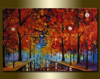 Original Textured Palette Knife Autumn Landscape Painting Oil on Canvas Modern Art 24X36 by Willson Lau