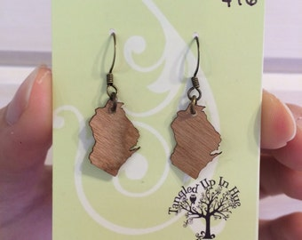 Wood Wisconsin or Minnesota state earrings