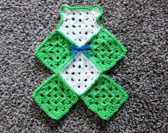 Crochet teddy bear lovey, mini blanket, travel blanket, lime green