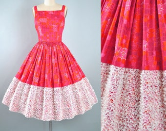 Vintage 50s Dress / 1950s Cotton Sundress Candy Jones LACE Border Full Swing Skirt Pink Red Polka Dots Picnic Garden Party Pinup XS Small