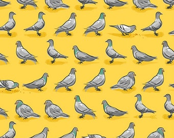 City Life by Ink & Arrow Fabrics - Pigeons in Yellow (24304-S) - Ink and Arrow- 1 Yard