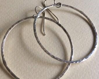 Large hoop earrings on ear wire
