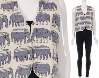 Vintage Elephants Vest Hand Embroidered Ethnic Vest Bohemian Hippie Vest Small