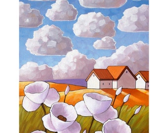 White Flower Clouds, Summer Cottage Floral Art Print, Country Folk Landscape, Vertical 8x11 Giclee Reproduction Artwork by Cathy Horvath