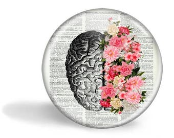 Brain With Flowers Magnet Brain With Flowers Mirror Brain With Flowers Button Pin Anatomy Gift HHP Original Gift Under 5