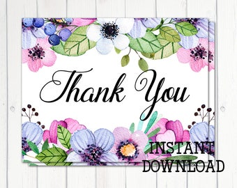 Printable Thank You Card, Bridal Shower Thank You, Baby Shower Thank You,Watercolor Flowers,Blue Purple Flowers, A2 Card, Printable No. 1034