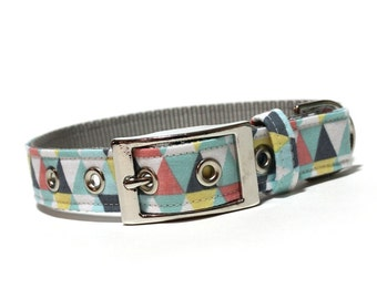 Unisex Geometric Dog Collar- Gray, Blue, and Coral Geometric pattern dog collar with metal buckle