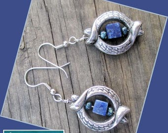 Genuine Lapis Silver Earrings, Gemstone Jewelry, Hypoallergenic Nickelfree Earrings, Blue and Silver Statement Earrings, Pewter Etched