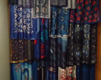 Shades of Royal and Midnight Blue Gypsy Boho Curtain