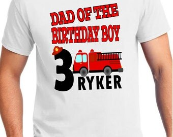 ADULT Firetruck Birthday Shirt - Firetruck Shirt -  Firetruck Matching set with name Shirt - Dad of the Birthday Boy Mom Aunt Uncle