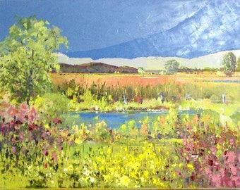 Original oil painting, canadian landscape, landscape painting, country painting, canvas oil artwork, summer painting, home decor