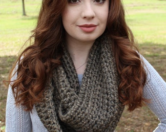Chunky Crocheted Speckled Brown Infinity Scarf