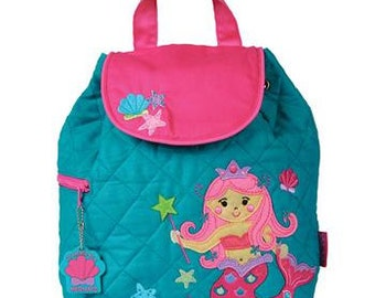 SHIPS NEXT DAY--Personalized Monogrammed --New Pattern Stephen Joseph Kid Quilted  Pink Teal Mermaid Backpack-Free Monogramming-