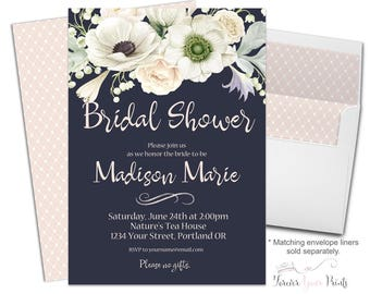 Navy Bridal Shower Invitation - Navy Bridal Shower Invites - Floral Bridal Invite - Floral Bridal Shower - Bridal Invitation - White Flowers