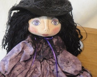 Primitive Halloween Witch cloth doll, small hand made witch art doll in purple spider web fabric