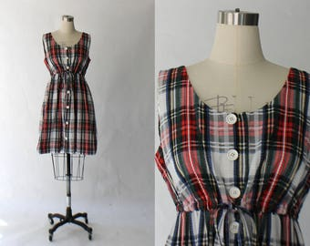 1970s Button Front Plaid Cotton Dress // 70s Vintage Sleeveless Day Dress // Large