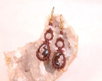 Ocean Jasper micromacrame hemp earrings with rose quartz beads, macrame, hemp jewelry, hippie, bohemian