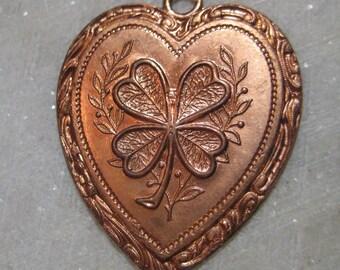 Vintage Brass Heart Pendant Drop; Four Leaf Clover Good Luck Heart, Die Struck Brass, Old Stock, 34mm by 30mm, 1 Pc.