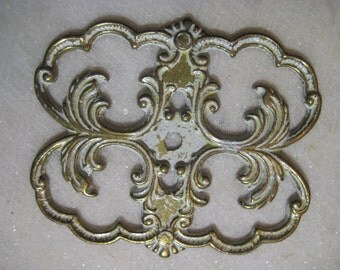 """Vintage French Provincial Furniture Escutcheon, 1970  Brass Backplate w/ Shabby White Paint, Cast Brass Replacement Hardware, 2 3/4"""", 1 pc."""