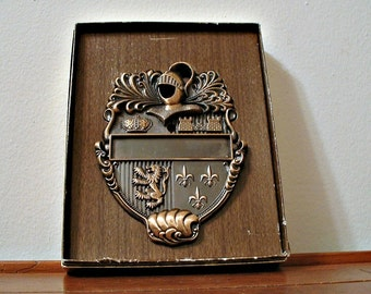 Vintage Door Knocker Medieval Knight Lion Crown Fleur De Lis Castle In Box 1960's Gothic Coat of Arms