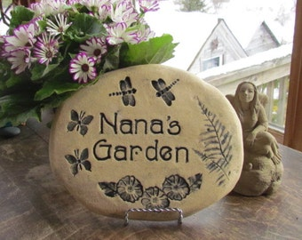 "Nana mothers day gift. ""Nana's Garden"" stone. Personalized Nana gift. Garden sign with dragonflies, butterflies."