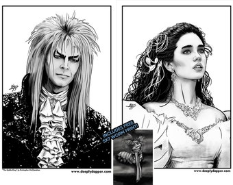 Labyrinth Portrait Set - Artwork inspired by the Film - Jareth and Sarah with free worm print