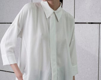 White sheer collar top, oversize blouse, buttoned down, summer formal top, 3/4 sleeves, plus size, asymmetrical, loose fit, long shirt