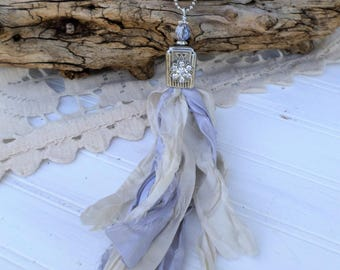 Sari Silk Ribbon Tassel Necklace, Boho Necklace, Shabby Chic Necklace, Vintage Silver Plate Knife Necklace