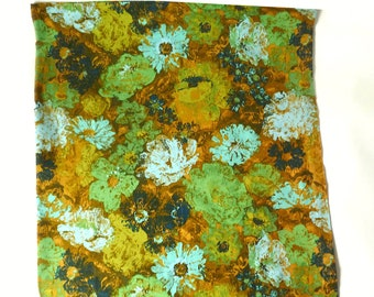 Vintage 1960s Gold Green Floral Cotton Curtain Panel ...  56W x 43L, Flower Boho Screenprint Fabric, Granny Chic Moody Blue Daisy Textile