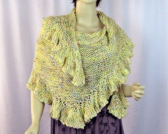 Ruffled Edge Shawl, Yellow, Pastel Colors, Hand Knit, Cotton Blend Yarns, Long Triangle Shape, Sophisticated Style, Elegant Wrap, Gift