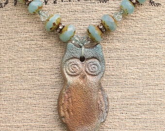 Owl Jewelry One of a Kind Turquoise Owl Necklace