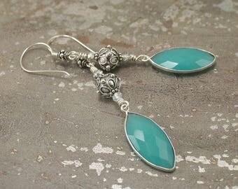Sterling Silver Dangle Earrings Semi Precious Chalcedony Earrings Bold Bohemian Jewelry Silver and Turquoise Earrings