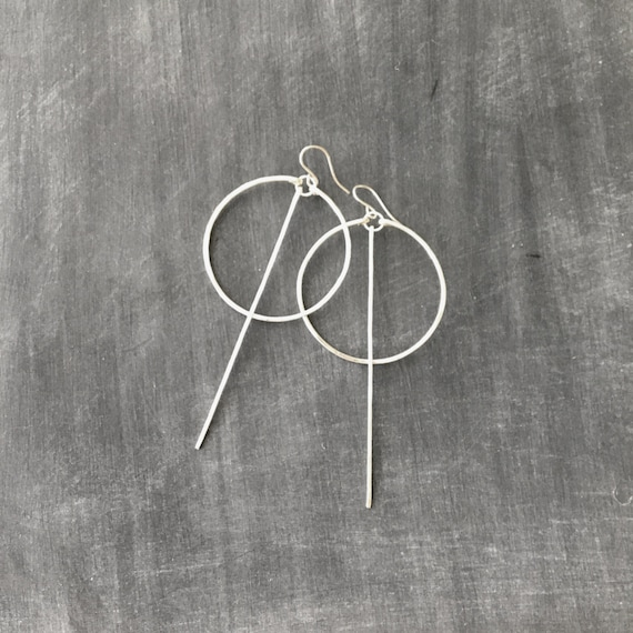 Silver Long Bar Circle Earrings
