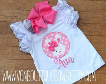 Easter bunny pink white Applique Matching Boutique Outfit Newborn 3 6 9 12 18 months 2T 3T 4T 5T 6 8 10 flutter long short icing sleeves