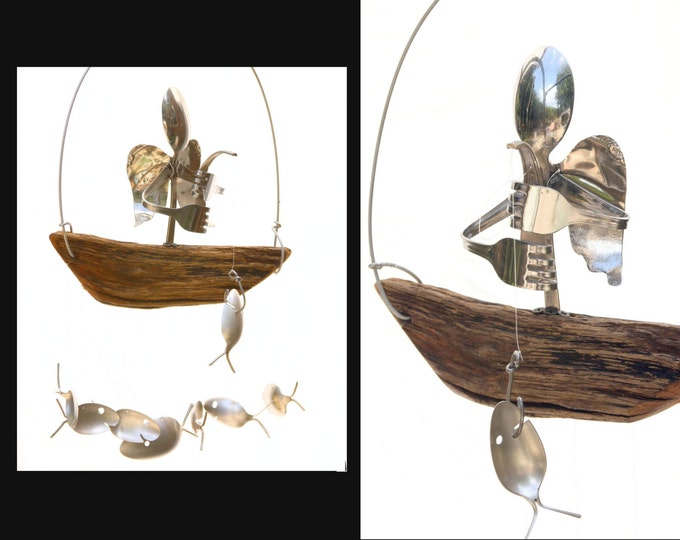 Male Angel Sculpture Wind Chime Mobile Widow Widower, Death Husband Man Winged Guardian Holy Silver Religion Ornamental, Christmas Ornaments