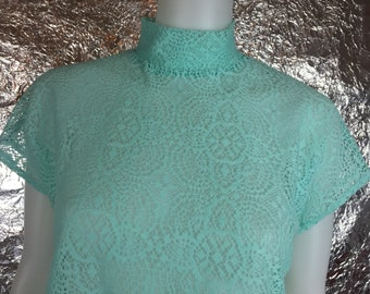 Vintage Mint Lace 80's Turtleneck Top  L